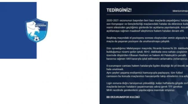 """BB Erzurumspor'dan açıklama: """"Aleyhimize hakem hataları devam"""""""