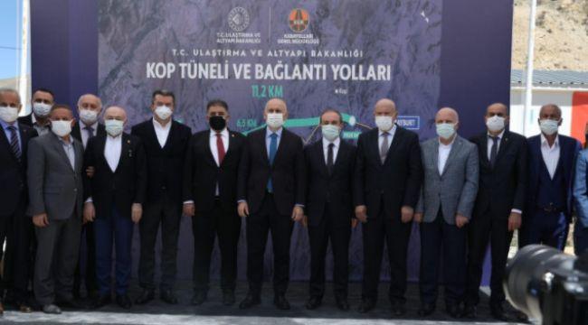 Kop Dağı'nda yapımı süren tüneldeki kazı işleminin yüzde 58'i tamamlandı