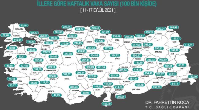 İl il her 100 bin kişide görülen Covid-19 vaka sayıları